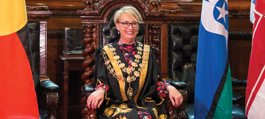Lord Mayor Sally Capp in her mayoral robes