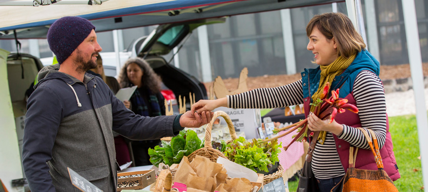 A woman shopping at a market