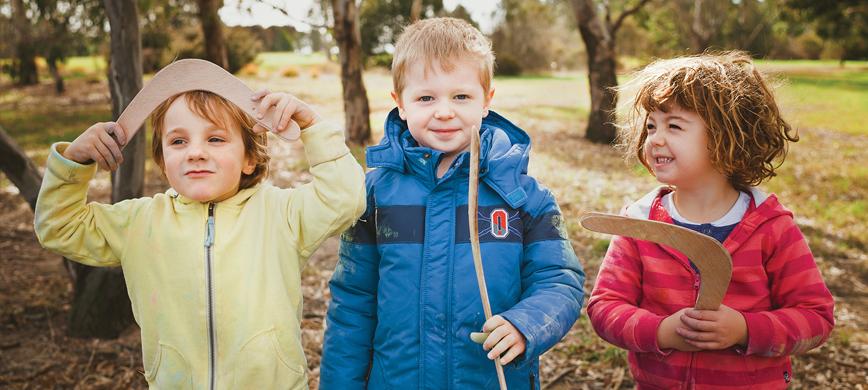 Three kids outdoors