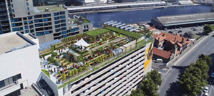 A aerial render of a rooftop farm