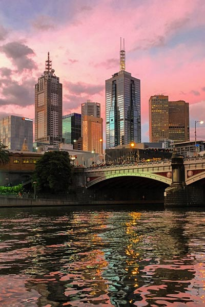 A view of Melbourne's skyline and the Yarra Rver