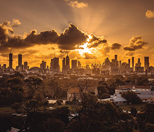 Melbourne's city skyline at sunset