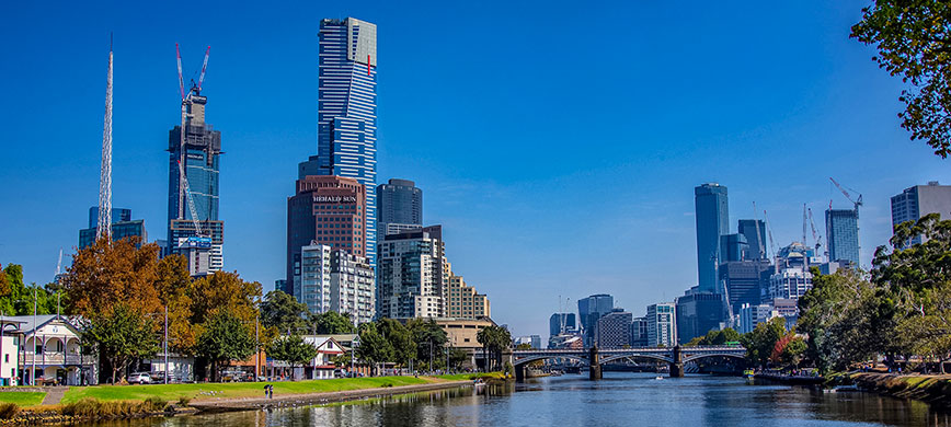 A view of the Melbourne city skyline