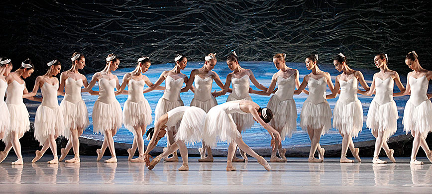 A row of ballet dancers performing on stage