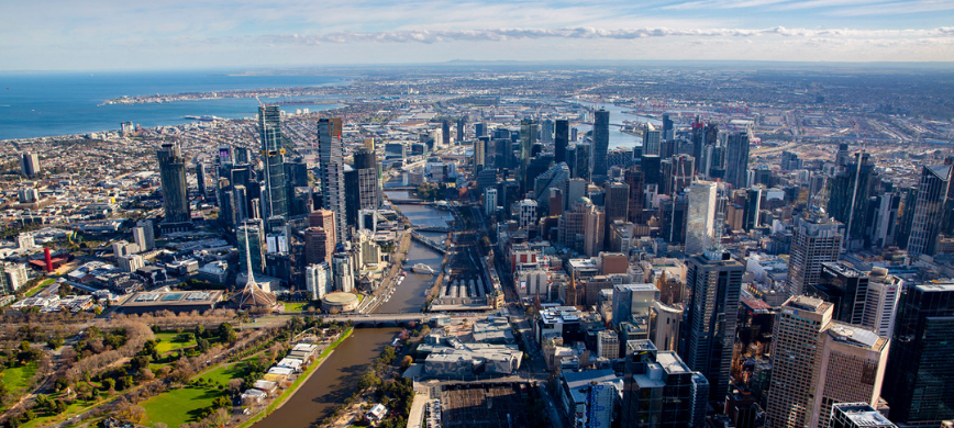 An aerial photograph of Melbourne
