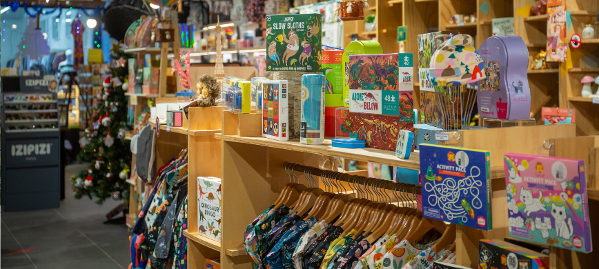 A colourful gift store interior