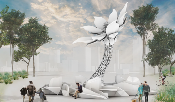 An artist's rendition of a giant robotic flower in a public place, towering over trees and people